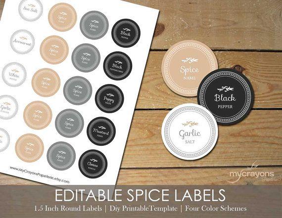 Editable Spice Jar Labels // DIY Printable Kitchen Labels // Round Spice & Herb Labels // 1.5 Inch Round Sticker, Neutral Earth Colors