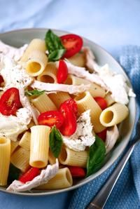 Basil, Mozzarella pasta salad.  Will be the side for our burgers tonight!