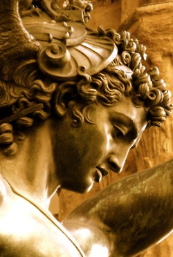 Detail of Perseus, holding the head of the slain Medusa ...