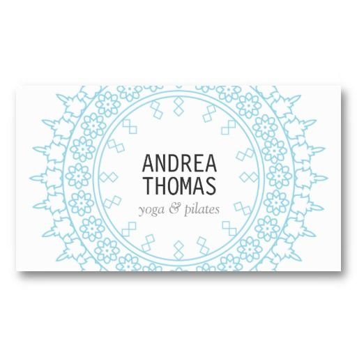 52 best business cards for yoga teachers yoga studios images on elegant lace inspired decorative circle whiteblue business card reheart Image collections