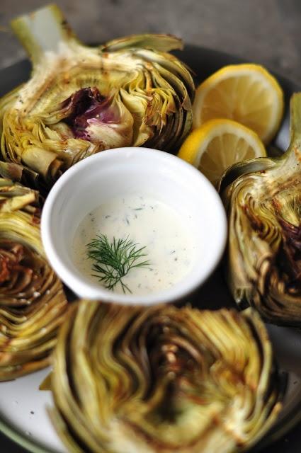 grilled artichokes with garlic lemon aioli -- gluten free + dairy free