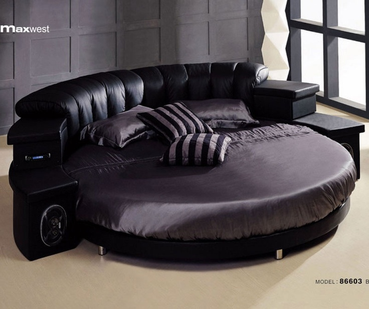 Best CIRCULAR BEDS CIRCULAR FURNITURE Images On Pinterest - Black leather round bed