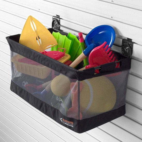 Put outside toys in a mesh or washable bin so sandbox toys, and pool toys can be hosed down for easy clean up.