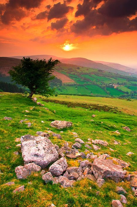 Sunset over the Brecon Beacons in Wales