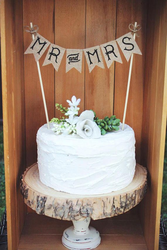 Mr And Mrs Cake Topper Wedding Rustic Burlap Vintage Retro