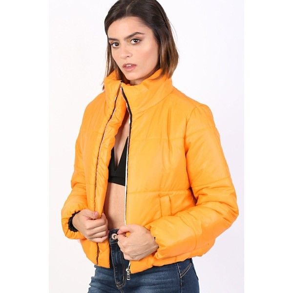 Pilot Cropped Puffer Jacket (€25) ❤ liked on Polyvore featuring outerwear, jackets, mustard yellow, yellow puffer jacket, mustard yellow puffer jacket, puffa jacket, shiny jacket and mustard puffer jacket