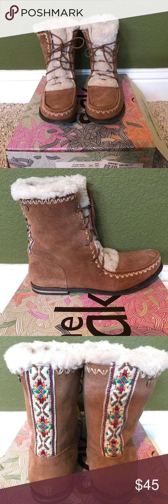 The Sak NWT Adorable Boots - Size 8 1-2 The Sak NWT Adorable Boots - Size 8 1/2. These unfortunately did not fit me. I'm more of a 9.  These are brand new except where I tried them on to see if they fit. Color is called Tobacco (Tan). The inside is SO cozy w/synthetic lambs wool, rest of boot is leather. Tie ups with a super cute Scandinavian style ribbons down the back of the boots. Let me know if you have any questions. All my items come from a smoke free home. The Sak Shoes Lace Up Boots