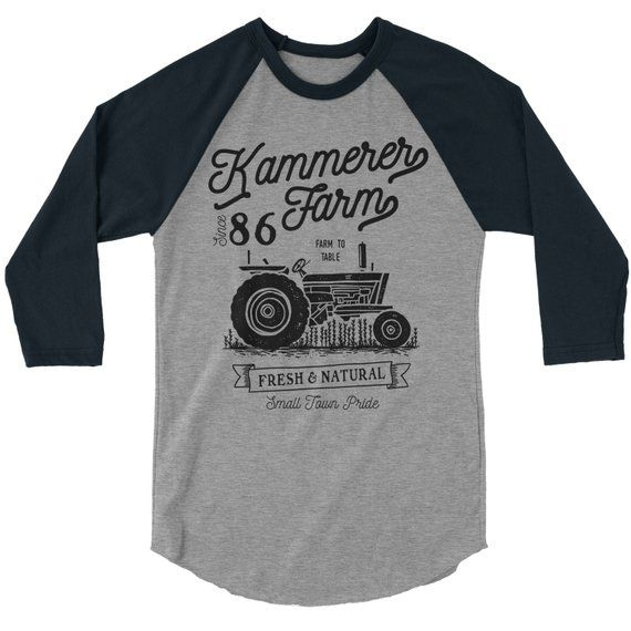 a7fc979d52ecf Men's Personalized Farm T-Shirt Vintage Tractor Raglan 3/4 Sleeve ...