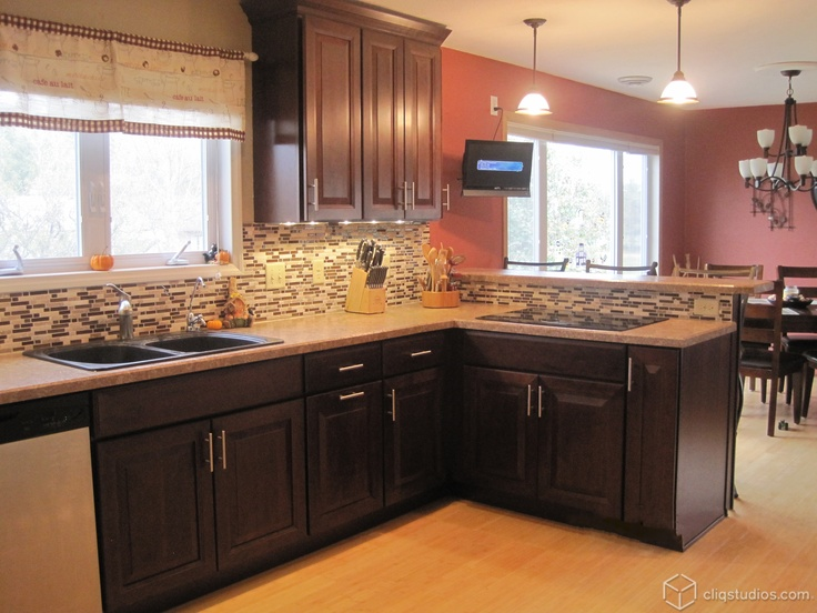 the carlton kitchen cabinets in cherry russet from cliqstudioscom are used in this great backsplash ideaskitchen - Kitchen Cabinets Backsplash Ideas