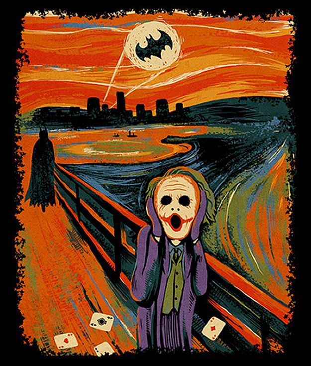 """This art piece by artist """"ben6835"""" depicts The Joker in the foreground with a scattered set of aces as Batman, The Dark Knight, approaches; Gotham City is silhouetted in the cityscape with the Bat Signal looming in the blood-red sky."""