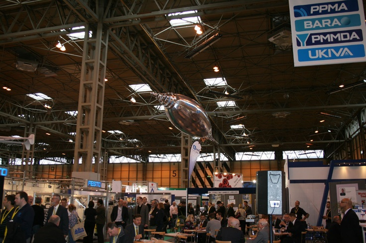 The Air Penguin from FESTO flying around above the PPMA 2012 trade show