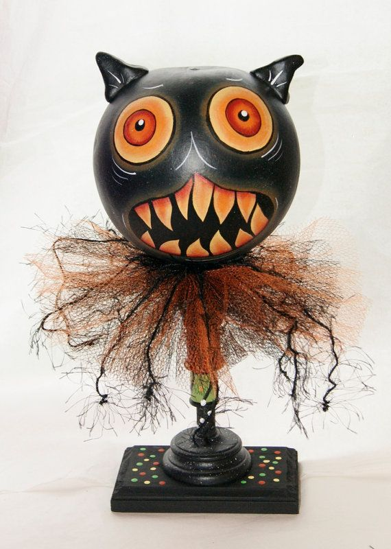 Black Cat Gourd Figure Hand Painted Halloween Gourd Head Haunted Swamp Holiday Home Decor Hand painted with acrylic paints. His body is a