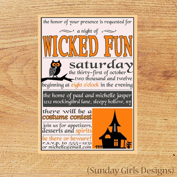 Adult Halloween Party Invitations Part - 35: Adult Halloween Party InvitationVintage By SundayGirlsDesigns, $15.00