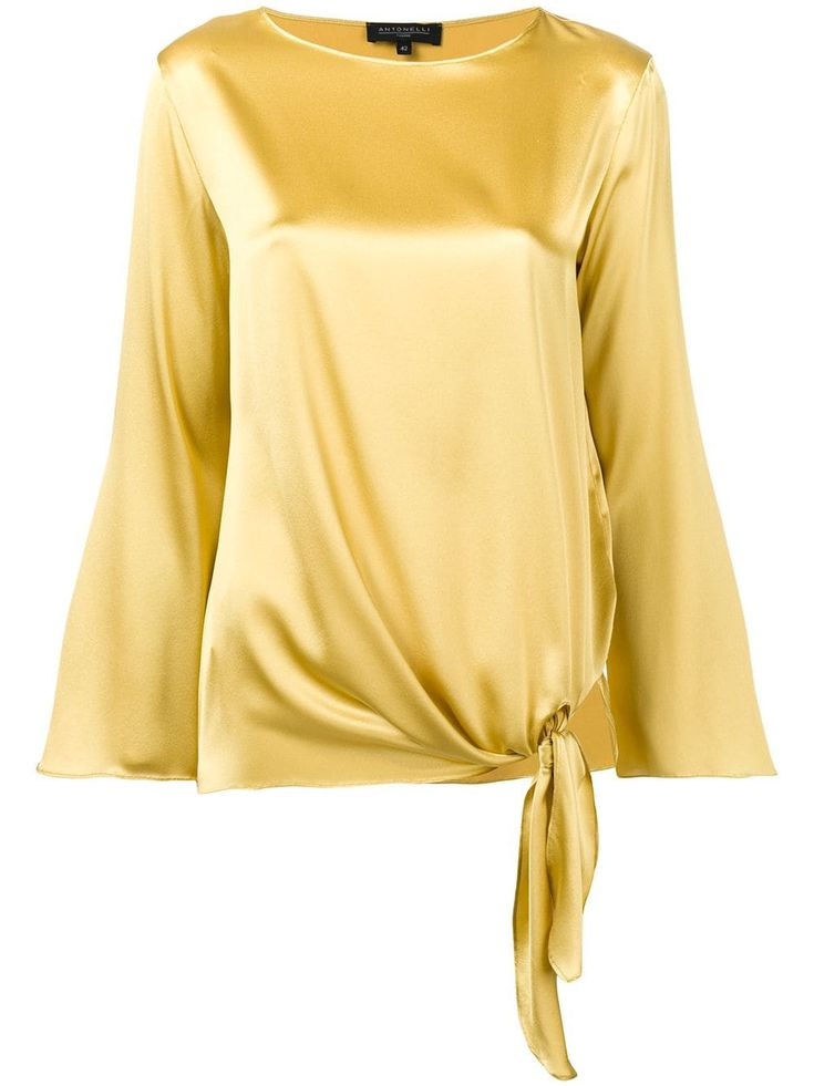 Antonelli Corinne side tie blouse – Yellow