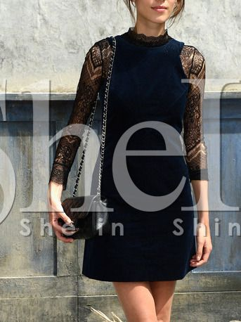 Navy Round Neck With Lace Dress 15.99