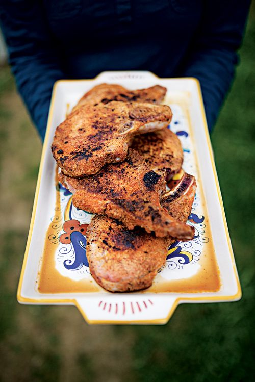 Tangy, sweet peach jam balances the richness of these pan-fried spiced pork chops.