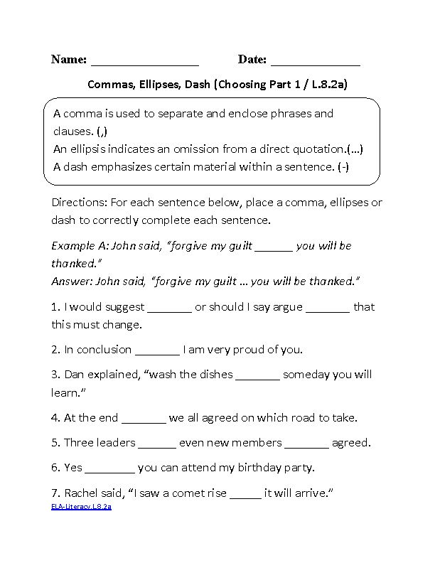 Commas Ellipses Dash CCSS.ELA-Literacy.L.8.2a Language Worksheet