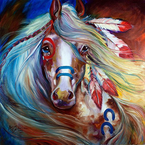 INDIAN WAR HORSE ~ FEARLESS by M BALDWIN Oil ~ 24 x 24