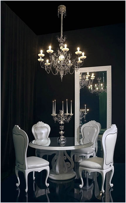 White floor mirror, Murano chandelier - white room