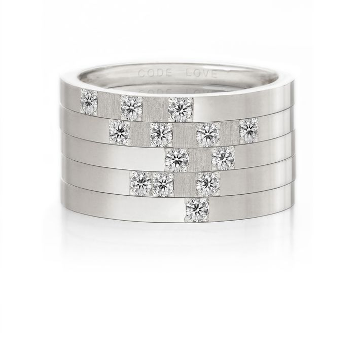 CODE LOVE 'SHINE' Morse Code Union Ring - These unique and beautiful Union Rings have been designed to stack. There are 26 rings in the collection each representing a letter of the English alphabet. Designed using brilliant cut diamonds set in either rose, yellow or white gold you can create whatever your heart desires! www.codelove.com.au