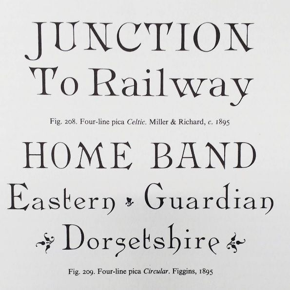 Serif innovation from Nicolete Gray's Nineteenth century ornamented types and title pages (1938)