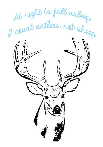 Black Deer with Blue Quote Stencil Art A3 Black and by ArieleArt, $30.00