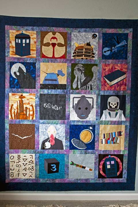Doctor Who Quilt - All paper pieced. From whimsandfancies.com and Trillium Designs. The patterns are difficult to get to, but they are downloadable and free.