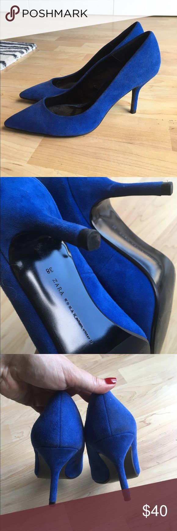 Blue Suede Zara Pointed Pumps Blue suede pointed pumps from Zara. Mid-level heel - very comfortable. Worn only once and in excellent shape (see photo of sole). Zara Shoes Heels