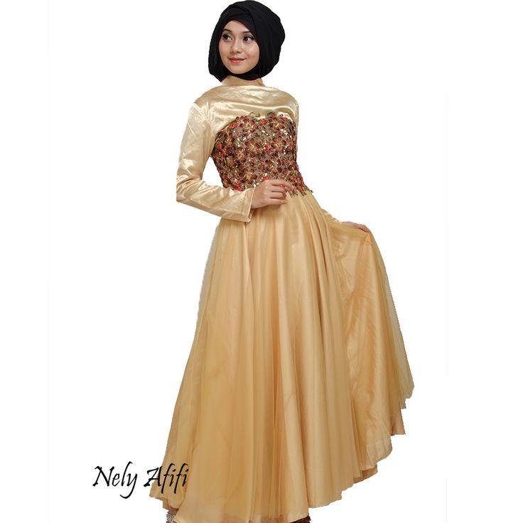 Gaun Pesta Muslimah Lace emas