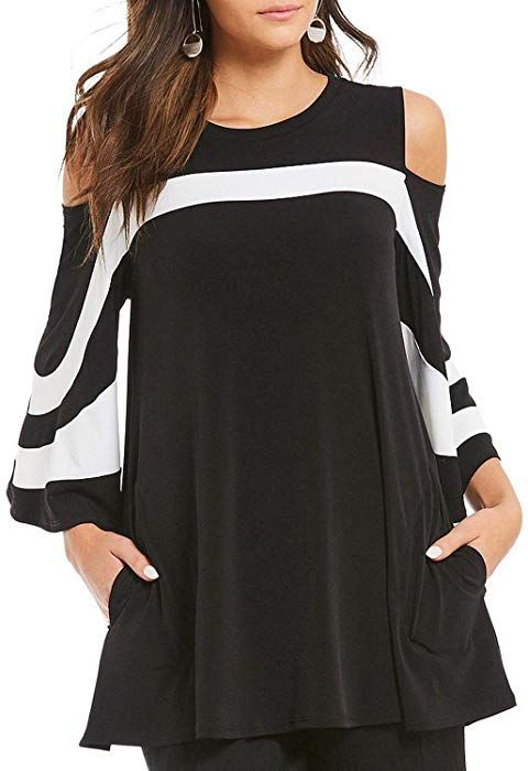 bfb4d894204 Itsmode Casual Open Shoulder Tops for Women 3 4 Long Sleeve Color Block Plus  Size