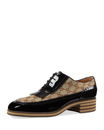 Thomson+GG+Supreme/Patent+Lace-Up+Brogue+Shoe+by+Gucci+at+Bergdorf+Goodman.