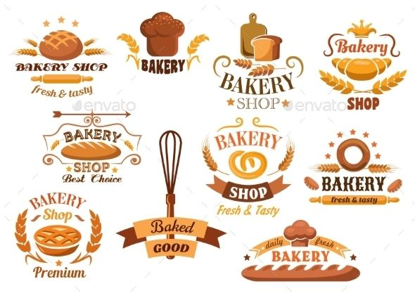 Large Set of Bakery Labels or Badges #jpg #image #insignia #business • Available here → https://graphicriver.net/item/large-set-of-bakery-labels-or-badges/10382826?ref=pxcr