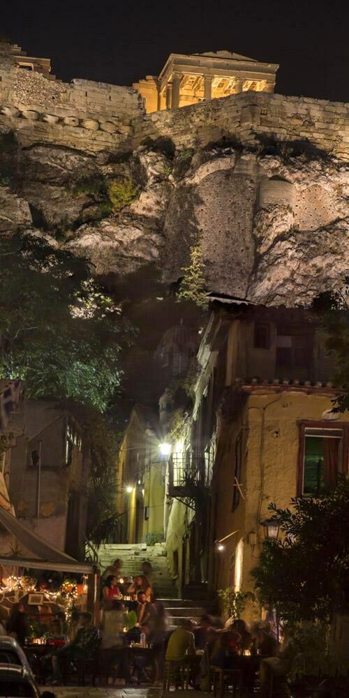 Plaka at night - Athens, Greece