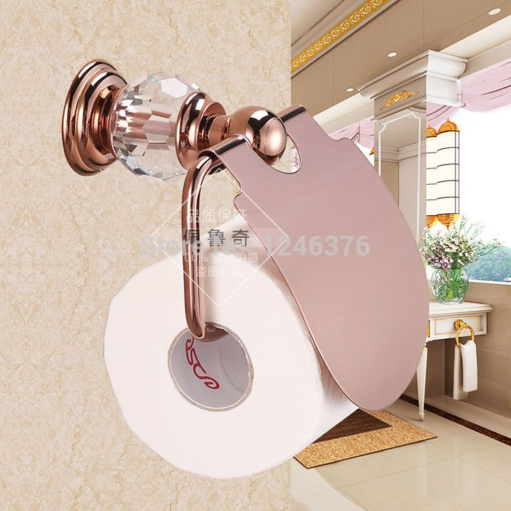 crystal bathroom accessories sets%0A Bathroom Accessories luxury crystal  u     brass Rose gold paper holder roll  holder toilet tissue box gold