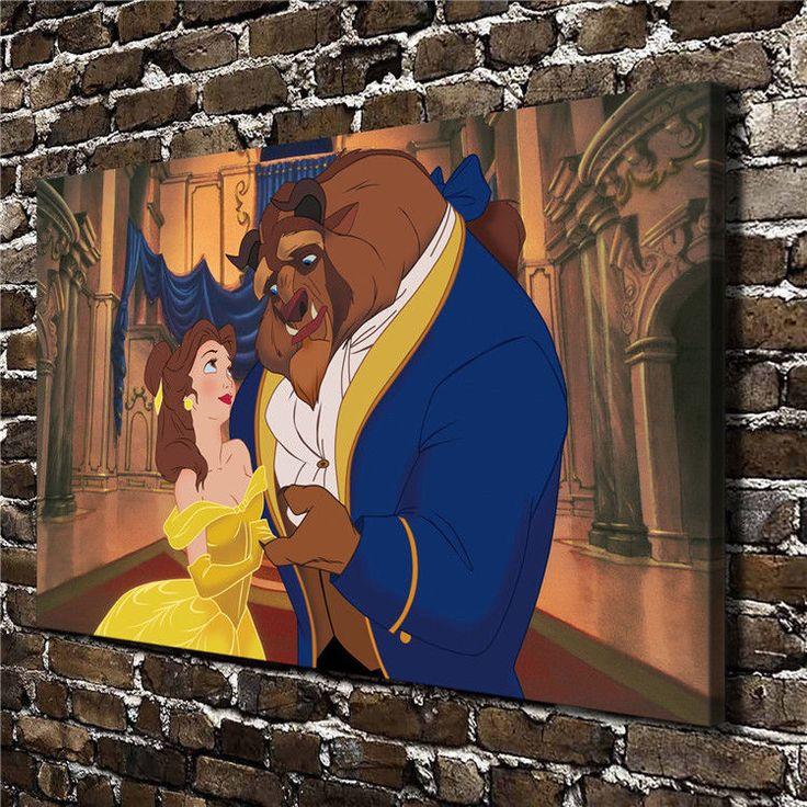 Canvas Hd Picture Print Art Painting Decor, Beauty And The Beast 20X32In
