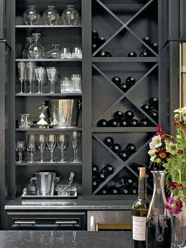 wine rack built in bookshelf home