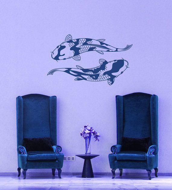 Koi fish pond japanese artwork japan art aquatic for Koi fish home decor