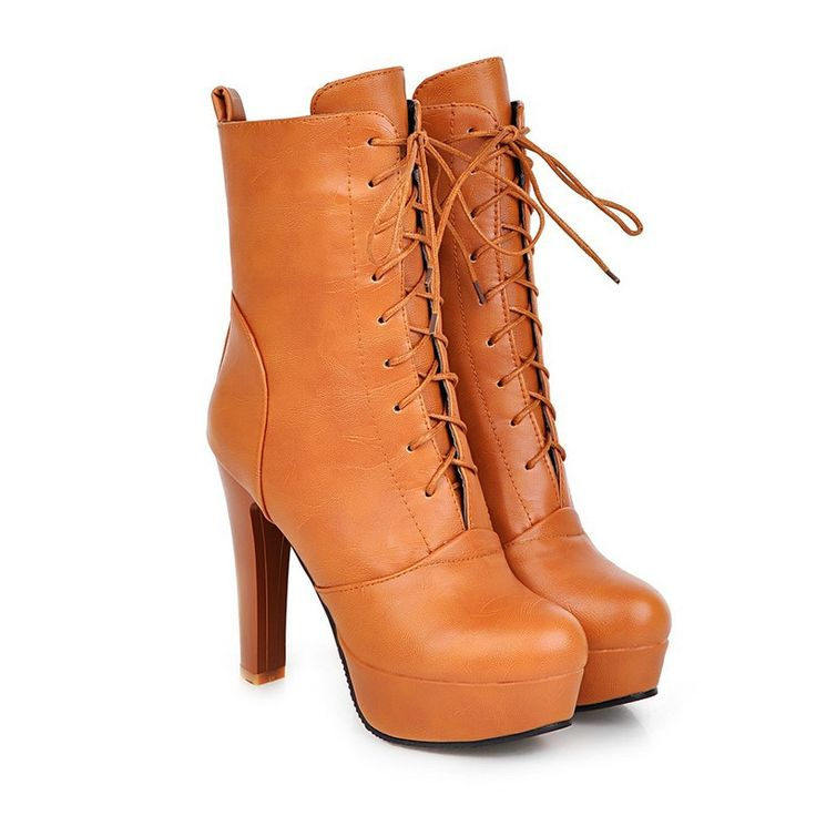 34.39$  Buy here - http://alie3i.shopchina.info/go.php?t=32530092989 - Elegant Ladies Autumn Shoes Woman Mid Calf Boots Square Med Heel PU Leather Lace Up Black Women Motorcycle Boots Size 34-43  #buyininternet