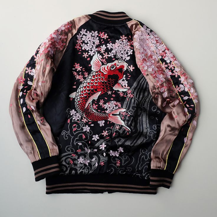 MAYU Japan SAKURA Cherry Blossoms Heavy Embroidery Rising Koi Fish Tattoo Art Design Souvenir Sukajan Jacket - Japan Lover Me Store