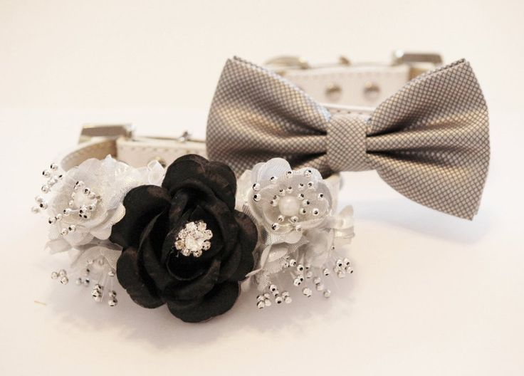 Black Silver wedding Dog collar, Bow tie and Floral collar, High Quality leather Dog Collar, Pet wedding Accessories