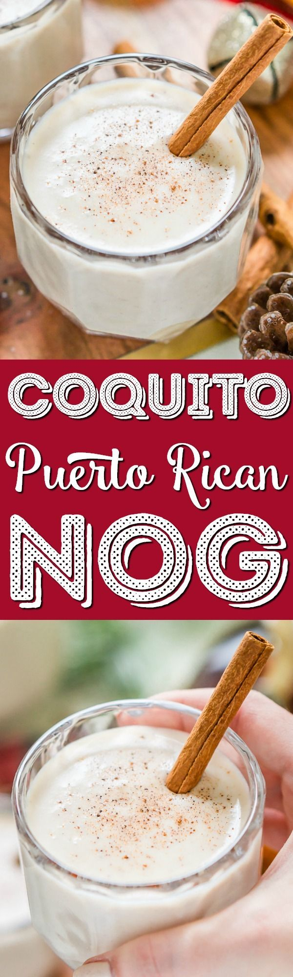 This Coquito recipe is a creamy and rich coconut-based Puerto Rican cocktail similar to an eggnog and a deliciously thick holiday drink loaded with spices and rum! via @sugarandsoulco