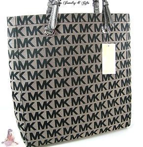 Michael Kors Logo MK Signature Purse XL Tote Black Gray Shoulder Hand Bag    eBay