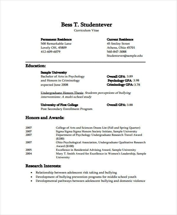 11 Student Curriculum Vitae Templates Pdf Doc Free In 2020 Curriculum Vitae Student Resume Template Curriculum Vitae Template