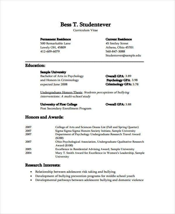 Great Cv Template Undergraduate Gallery In 2020 Student Resume