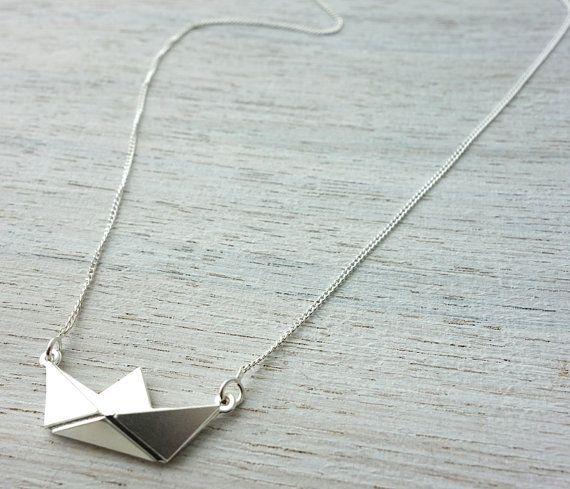 Kurze Papier Boot Halskette Origami nautischer von shlomitofir