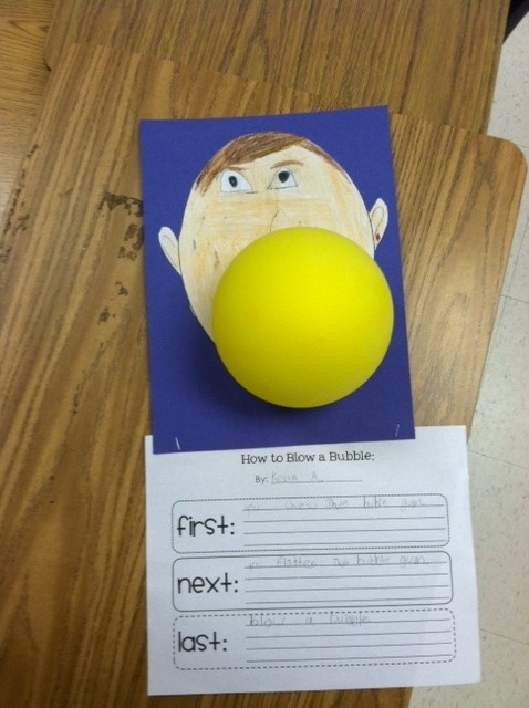 my 2nd grade team used this activity to teach transition words (first, next, last) We had the kids blow a bubble with chewing gum and then the kids wrote down the process. The kids loved being able to chew gum in school!