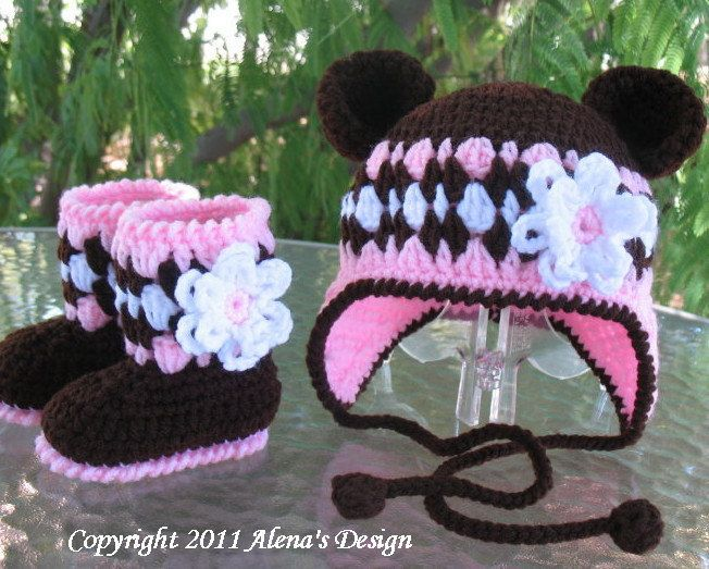 ad31ac3ce562d Crochet PATTERN Set - Bear Hat , Baby Booties and Baby Mittens ...