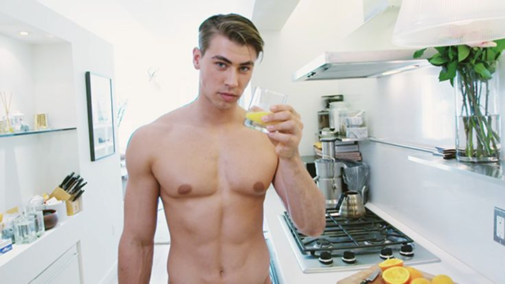 Hot Guy Making Orange Juice: The very best way to start your day is with a freshly squeezed glass of orange juice made by a hot shirtless guy.