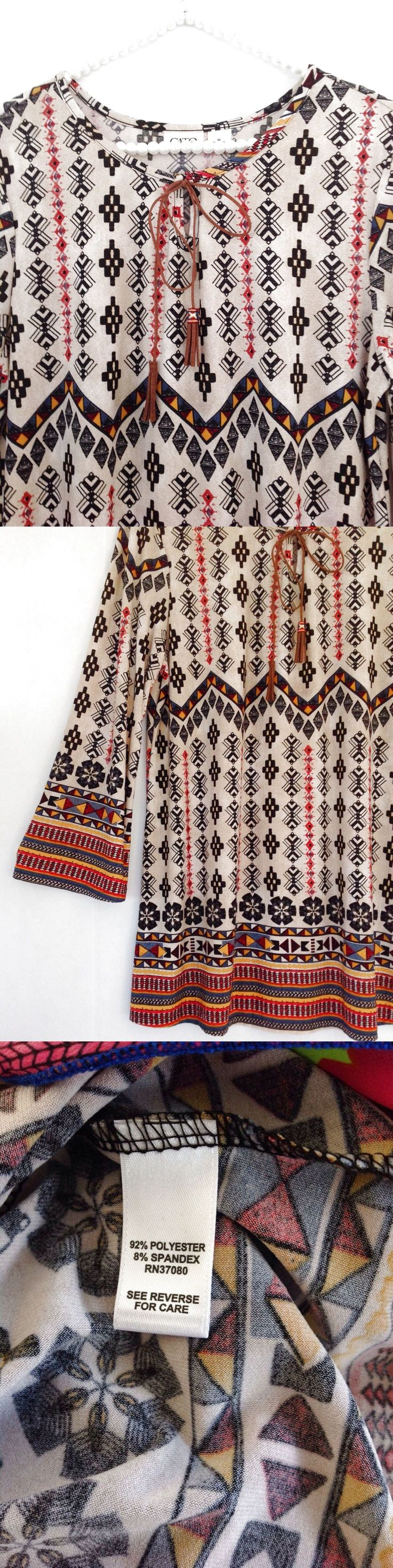 Cato Aztec Printed Bell Sleeve Suede Tassel Tunic Top Blouse Shirt Sz M Women's $11.99
