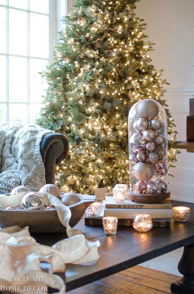 85eb0e70b82a05 Tips for Transitioning from Fall to Winter Decor-Cloche with ornaments-Naked  Christmas tree-blush ornaments-rose gold-mercury glass-